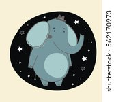 happy elephant vector card | Shutterstock .eps vector #562170973