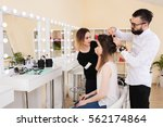 beauty salon  the girl dklayut... | Shutterstock . vector #562174864