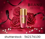 Stock vector romantic cosmetic set rose perfume with red roses white pearl and black ribbons isolated on red 562176130