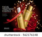 romantic cosmetic set  golden... | Shutterstock .eps vector #562176148
