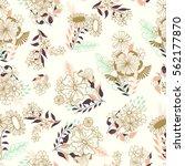 whimsical seamless flourish... | Shutterstock .eps vector #562177870