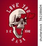 skull in love valentines grunge ... | Shutterstock .eps vector #562188604
