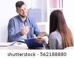 job applicant having interview... | Shutterstock . vector #562188880