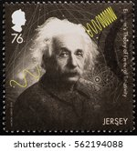 Small photo of Milan, Italy - January 13, 2017: Scientist Albert Einstein on postage stamp of Jersey