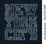 new york city typography... | Shutterstock .eps vector #562197589