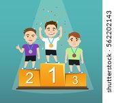 three athletes with medals on a ... | Shutterstock .eps vector #562202143