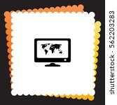 computer with world map  icon....