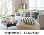 rounded shape stool with a cozy ... | Shutterstock . vector #562205284
