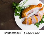 smoked chicken breast on a... | Shutterstock . vector #562206130