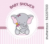 Stock vector baby shower girl elephant with baby bottle 562207033