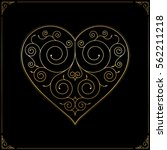 valentine's day heart. line art ... | Shutterstock .eps vector #562211218