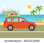funny red car with surfboard... | Shutterstock .eps vector #562212040