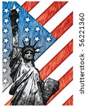 staue of liberty with american... | Shutterstock .eps vector #56221360