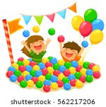 two kids playing in a ball pit... | Shutterstock .eps vector #562217206