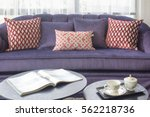 magazine and afternoon tea set... | Shutterstock . vector #562218736