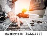 photographer journalist camera... | Shutterstock . vector #562219894