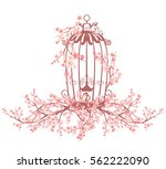 opened bird cage among blooming ... | Shutterstock .eps vector #562222090