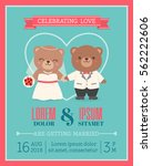 cute bear couple illustration... | Shutterstock .eps vector #562222606