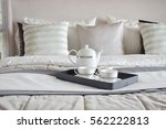 decorative tray of tea set on... | Shutterstock . vector #562222813