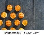 Cheese Scones On Black Wood...