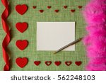 valentine's day card on fabric... | Shutterstock . vector #562248103