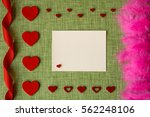 valentine's day card on fabric... | Shutterstock . vector #562248106