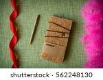 cork notebook on fabric... | Shutterstock . vector #562248130