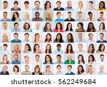 collage of smiling multiethnic... | Shutterstock . vector #562249684