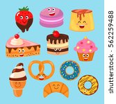 funny characters desserts ... | Shutterstock .eps vector #562259488