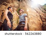 young climbers rock climbing in ... | Shutterstock . vector #562263880