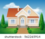 country cottage. front of the... | Shutterstock .eps vector #562265914