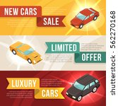 three colored car dealership... | Shutterstock .eps vector #562270168