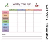 weekly meal plan  mealtime...   Shutterstock .eps vector #562271596