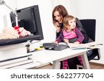 working mom and daughter at the ... | Shutterstock . vector #562277704