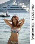 beautiful girl posing on the... | Shutterstock . vector #562283980