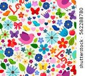 cute spring love seamless...   Shutterstock .eps vector #562288780