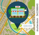 cafe location map with map pin... | Shutterstock .eps vector #562288840