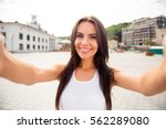 young smiling girl making... | Shutterstock . vector #562289080