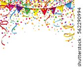 colored confetti with ribbons... | Shutterstock .eps vector #562290994