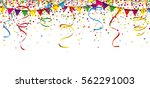 colored confetti with ribbons...   Shutterstock .eps vector #562291003