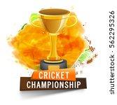 glossy golden winner trophy on... | Shutterstock .eps vector #562295326