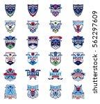 vector set of color hockey... | Shutterstock .eps vector #562297609
