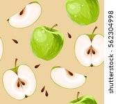 green apples and apple slices... | Shutterstock .eps vector #562304998