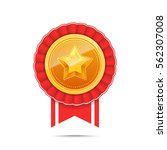 3d gold medal with star and red ... | Shutterstock .eps vector #562307008