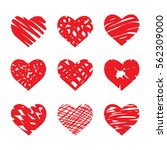 set of nine artistic hearts.... | Shutterstock .eps vector #562309000