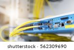 optic fiber cables connected to ... | Shutterstock . vector #562309690