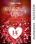valentines day party flyer... | Shutterstock .eps vector #562315234