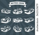 set of classic cars silhouettes.... | Shutterstock .eps vector #562315879