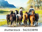 two cowboys on horses ford the... | Shutterstock . vector #562323898