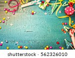 colorful birthday frame with... | Shutterstock . vector #562326010